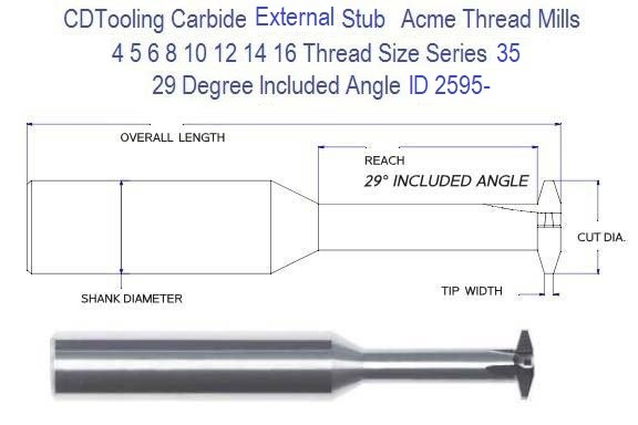Stub Acme External Thread Mill Carbide , 16 14 12 10 8 6 5 4 Pitch Series 35 ID 2595-