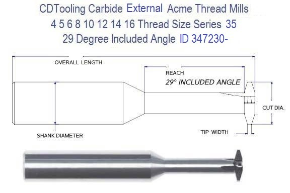 Acme External Thread Mill Carbide , 16 14 12 10 8 6 5 4 Pitch Series 35 ID 347230-