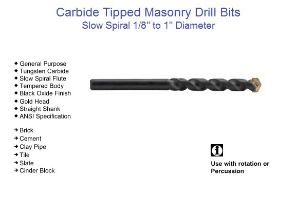 Carbide Tipped Masonry Drill Bits, Slow Spiral, Rotation, Percussion, 1/8-1
