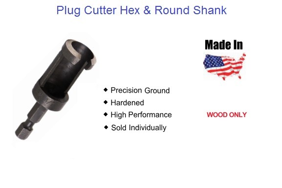 Woodworking Plug Cutter Round and Hex Shank Sizes 1/4 - 5/8