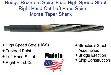 Bridge Reamer Helical Flute, Right Hand Cut, Left Hand Spiral 7/16 to 1-5/16 USA ID 2054-