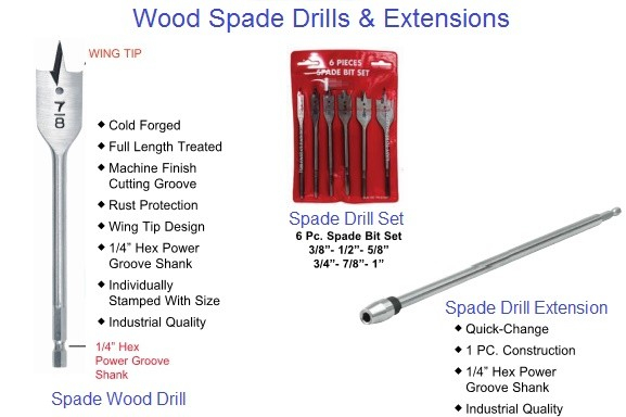 Spade Drills Woodworking and Extensions 1/4 thru 1-1/2 Diameter 6 and 16 inch Long