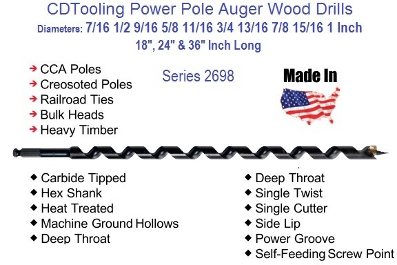 Power Pole Auger Bits 7/16 to 1 Inch Diameter 18 to 36