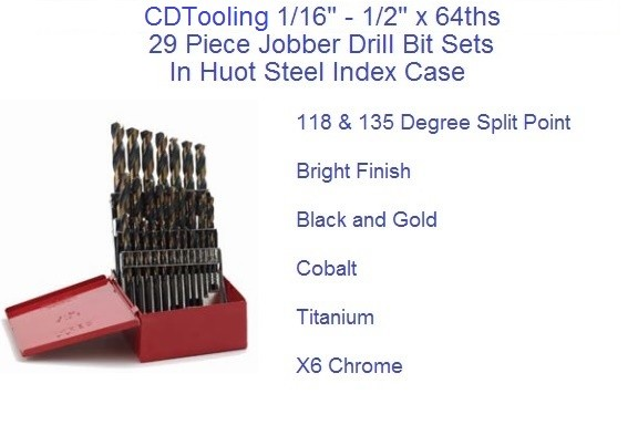 1/16 to 1/2 x 64ths 29 pc Jobber Drill Sets Mechanics,Black and Gold, Cobalt, Titanium, Bright Finish