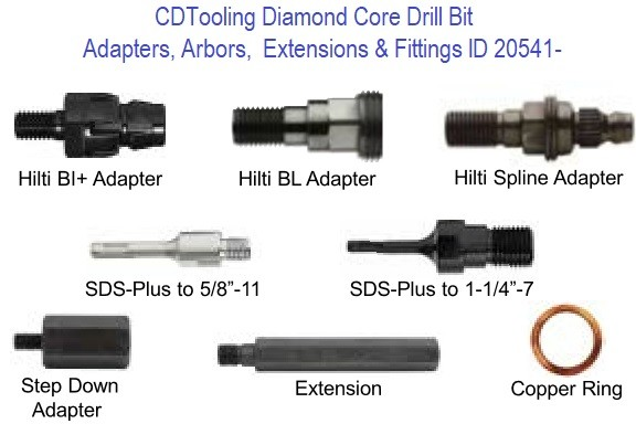 Diamond Core Drill Bit Adapters, Arbors,  Extensions and Fittings ID 20541-