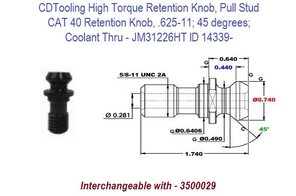 High Torque Retention Knob, Pull Stud CAT40, 625-11, 45 degrees, Coolant Thru JM31226HT ID 14339-