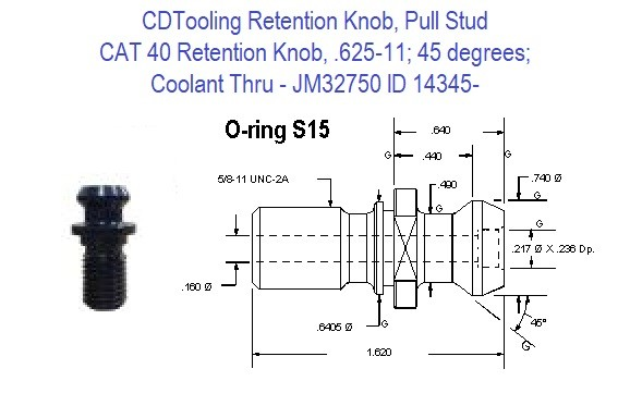 Retention Knob, Pull Stud, CAT40, 625-11, 45 degrees, Coolant Thru JM32750 ID 14345-