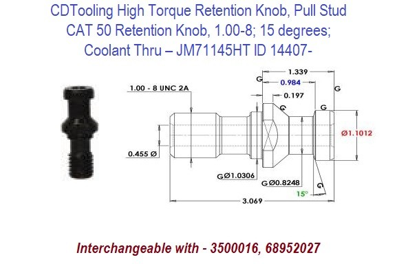 High Torque Retention Knob, Pull Stud, CAT50, 1.00-8, 15 degrees, Coolant Thru JM71145HT ID 14407-
