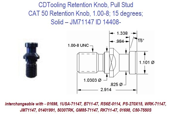 Retention Knob, Pull Stud, CAT50, 1.00-8, 15 degrees, Solid JM71147 ID 14408-
