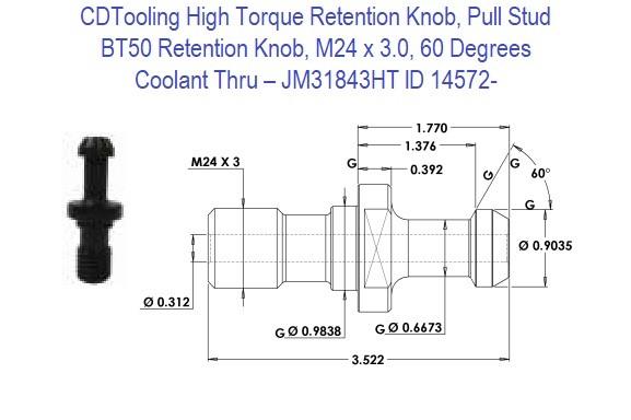 M24 BT50 x 90 Degree Milling Cutter Shank Pull Stud Retention Knob