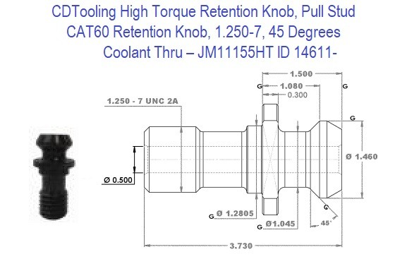 High Torque Retention Knob, Pull Stud, CAT60, 1.250-7, 45 Degrees, Coolant Thru  JM11155HT ID 14611-