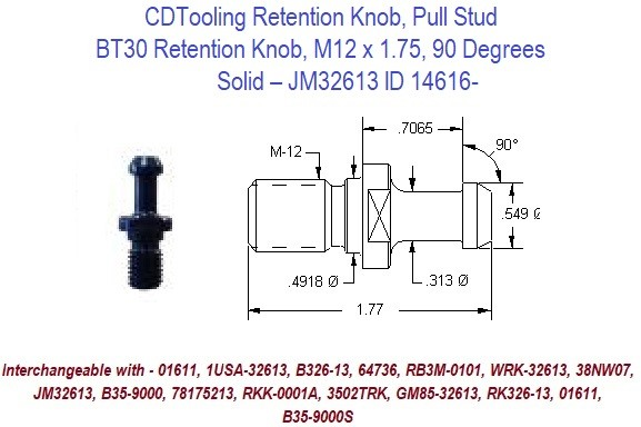 Retention Knob, Pull Stud, BT30, M12 x 1.75, 90 Degrees, Solid  JM32613 ID 14616-