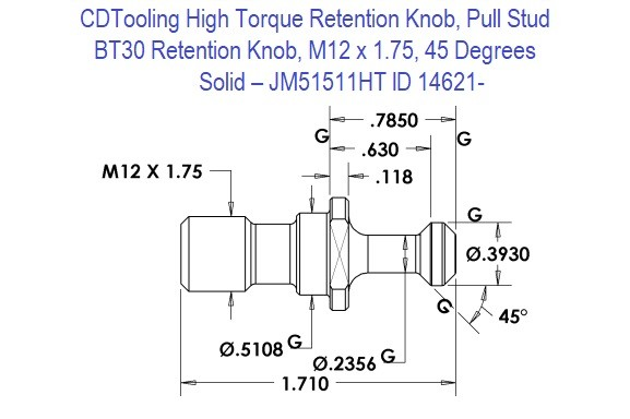 High Torque Retention Knob, Pull Stud, BT30, M12 x 1.75, 45 Degrees, Solid  JM51511HT ID 14621-