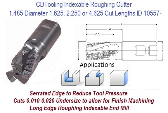 1.485 Diameter, 1.625, 2.250 or 4.625 Cut Length Long Edge Indexable Carbide Insert Roughing Cutter S-150 ID 10557-