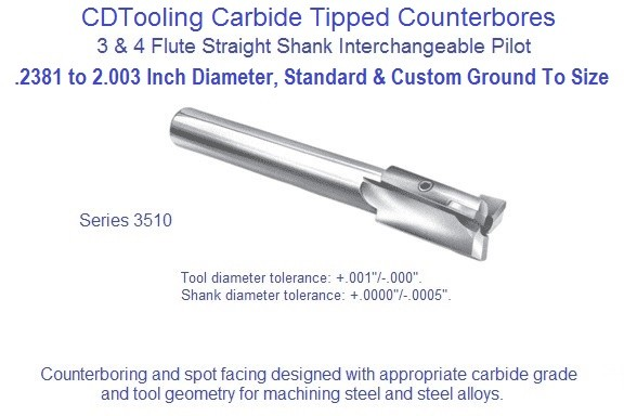 Counterbore Interchangeable Pilot Straight Shank Steel Cutting Carbide Tipped Series 3510 .2381 to 2.030 Inch ID 1570-