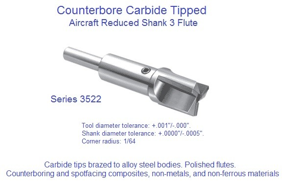 Counterbore Interchangeable Pilot Aircraft Series Carbide Tipped Series 3522 1/4 to 2 Inch ID 1568-