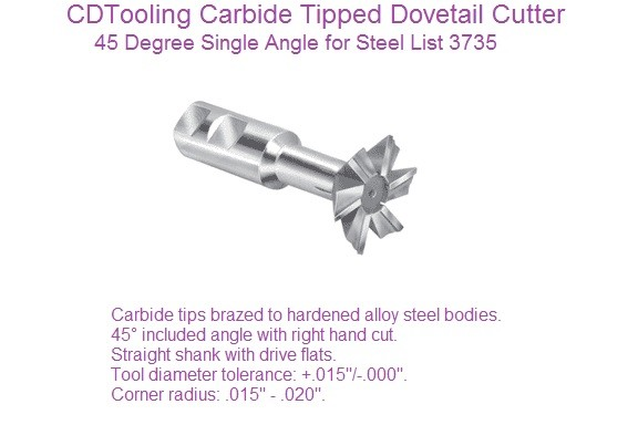45 Degree Dovetail Cutters Carbide Tipped Steel Cutting 1/2