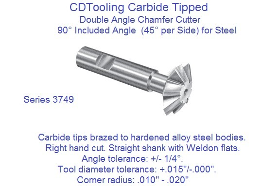 Carbide Tipped Double Angle 90 Degree Included 45 Per Side Milling Cutters for Steel  3749