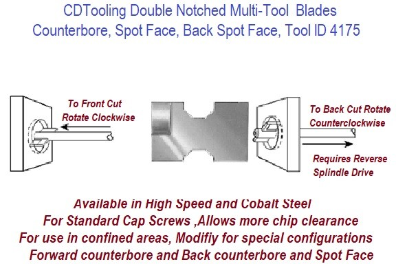 Multi Tool System Double Notched D Blades .875 to 2.50 Inch Diameter  ID 4175-