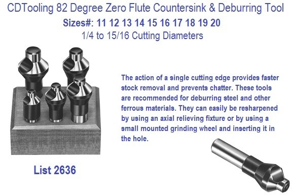 82 Degree Zero Flute Piloted Countersinks, Deburring Tools 544P 1/4 5/16 3/8 7/16 1/2 Screw Sizes Series ID 2636-