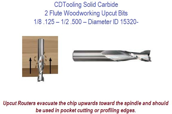 .125 1/8 - .500 1/2 - 2 Flute Solid Carbide Woodworking Upcut Bits ID 15320-