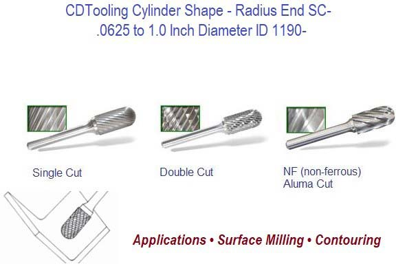 SC- Cylinder Shape Radius End Carbide Burr ID 1190-