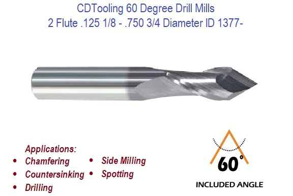 .125 1/8 - .750 3/4 2 Flute 60 Degree Carbide Drill Mill  ID 1377-