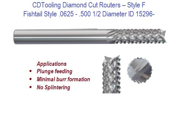 .0625 - .500 1/2 Diameter Fishtail Style - Diamond Cut Routers ID 15296-