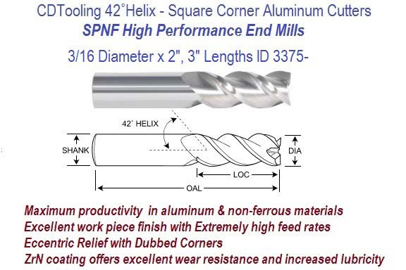 .187 3/16 Diameter x 2, 3 Inch Lengths HP End Mills For Aluminum and Non-Ferrous ID 3375-