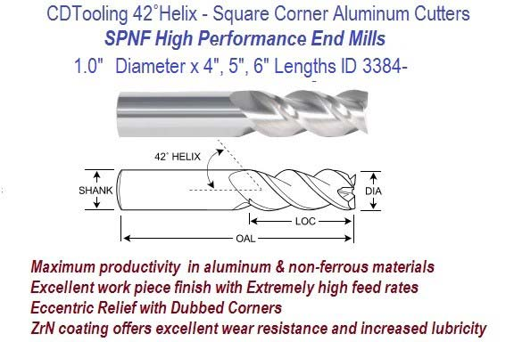 1.0 1 Inch Diameter x 4, 5, 6 Inch Length HP End Mills For Aluminum and Non-Ferrous ID 3384-