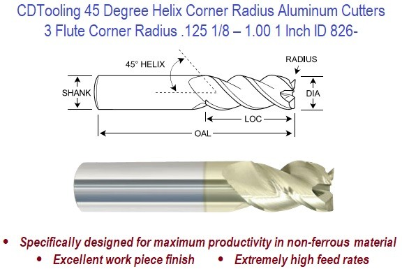 3 Flute Square - .125 1/8 - 1.00 1 Inch - 42 Degree Helix Corner Aluminum High Performance Endmills ID 826-