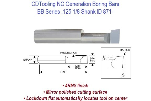 .125 1/8 - NC Generation - BB Series Boring Bars ID 871-