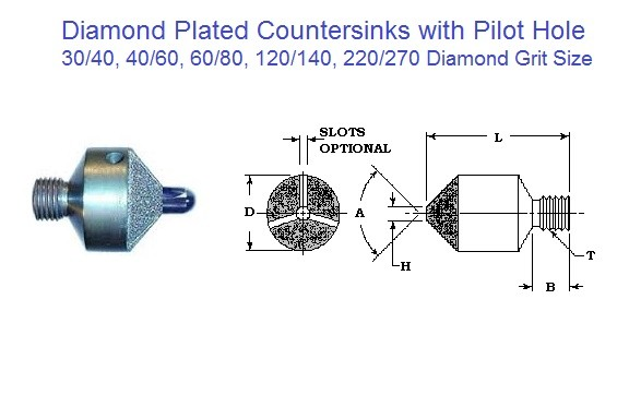 Diamond Plated Stop Countersink w/ w/o Pilot, 80, 90 ,100 Degree 3/8 - 1 Inch Diameter ID 1584-