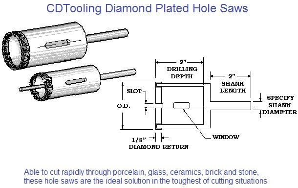 Diamond Plated Hole Saws Inch and Metric Sizes porcelain, granite, glass, brick, cement board, ID 1626-