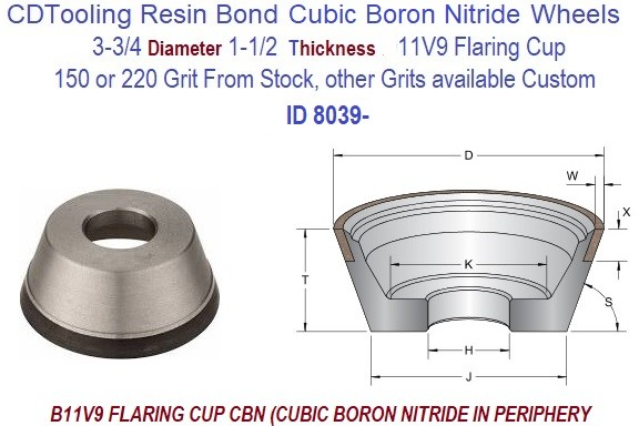 B11V9  3.750 3-3/4 Inch Diameter 1-1/2 Thick  X 1-1/4 Arbor Hole CBN Cubic Boron Nitride Grinding Flaring Cup Wheels Resin Bond ID 8039-