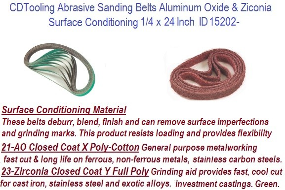 1/4 x 24 Inch  Aluminum Oxide, Surface Conditioning, Zirconia Abrasive Sanding Belts ID 15202-