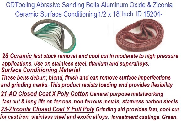 1/2 x 18 Inch  Aluminum Oxide, Ceramic, Surface Conditioning, Zirconia Abrasive Sanding Belts ID 15204-