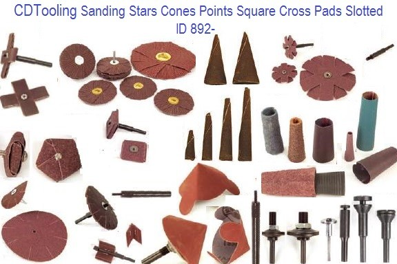 Sanding Stars, Cones, Points, Square, Cross,Pads, Slotted ID 892-