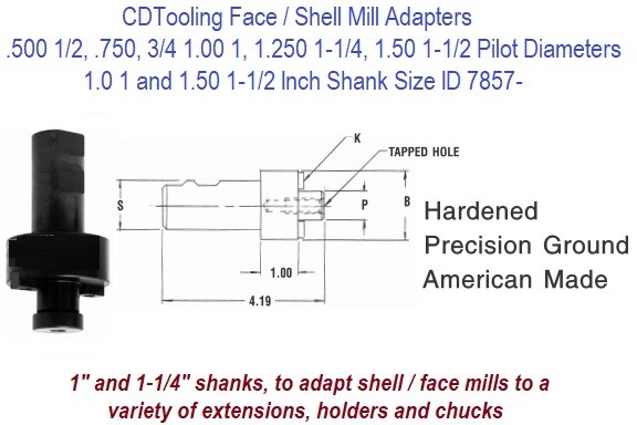 Shell, Face, Mill Arbor,Straight Shank ID 7857-