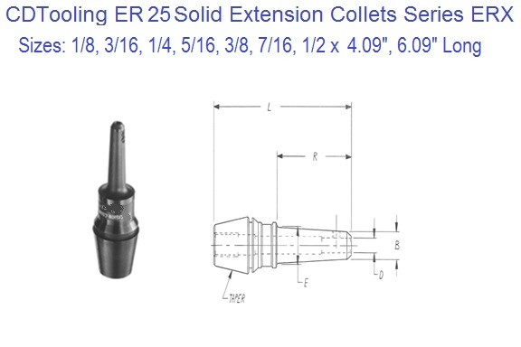 ER25 Extension Collets 1/8 3/16 1/4 5/16 3/8 7/16 1/2 Inch Series ERX (COPY)