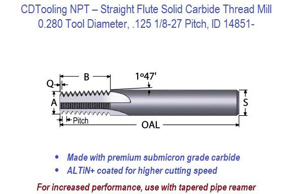 NPT Straight Flute Solid Carbide Thread Mill - 0.280 Diameter .125 1/8-27  Pitch ID 14851-