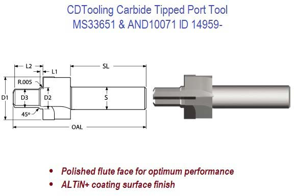 MS33651, AND10071, Carbide Tipped Port Tool ID 14960-