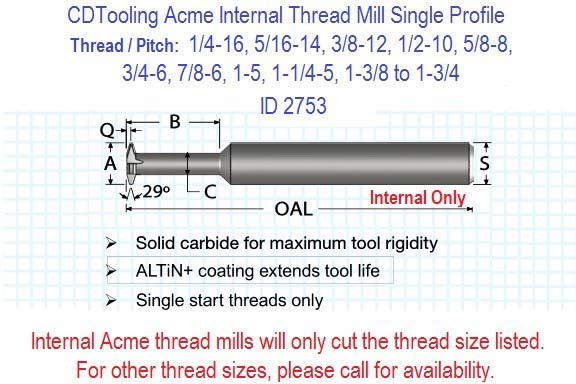 Acme Internal Carbide Thread Mills 1/4-16 5/16-14 3/8-12 7/16 12 1/2-10 5/8-8 3/4-6 7/8-6 1-5 1-1/4-5 1-3/8-4 to 1-3/4-4 ID 2753