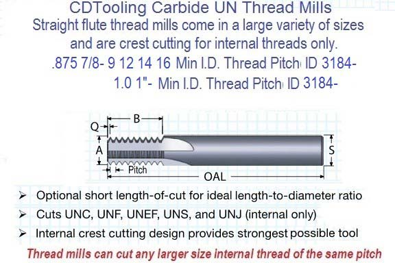 .875 7/8, 1.0 1- 8 9 10 12 14 16 Pitch TM Solid Carbide Straight Flute Thread Mill Full Profile ID 3184-