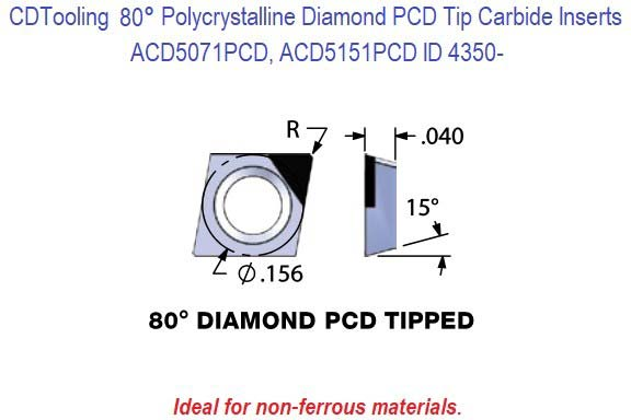 ACD5071PCD, ACD5151PCD Diamond Shaped Polycrystalline Diamond PCD Tipped Carbide Inserts 1 Pack ID 4350-