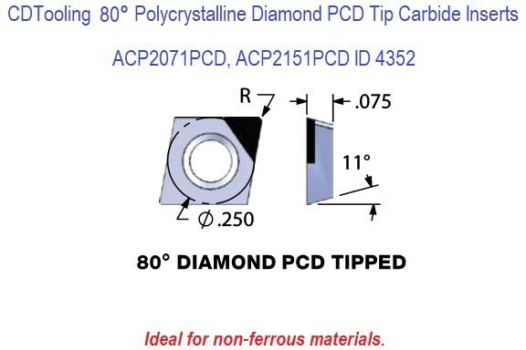 ACP2071PCD, ACP2151PCD Diamond Shaped Polycrystalline Diamond PCD Tipped Carbide Inserts 1 Pack ID 4352-