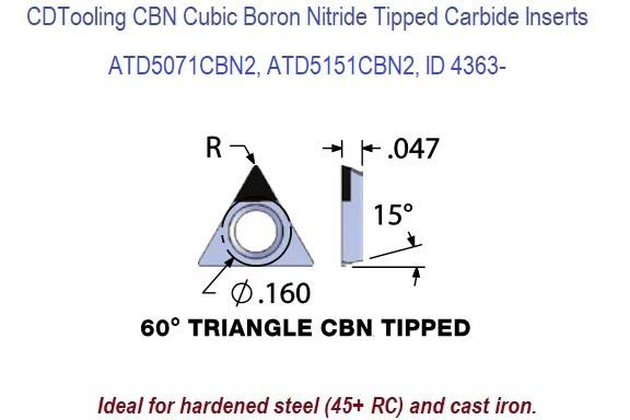 ATD5071CBN2, ATD5151CBN2, Triangle CBN Cubic Boron Nitride Tipped Carbide Inserts for Boring Bars 1 Pack ID 4363