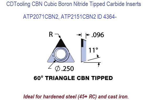 ATP2071CBN2, ATP2151CBN2, Triangle CBN Cubic Boron Nitride Tipped Carbide Inserts for Boring Bars 1 Pack ID 4364-
