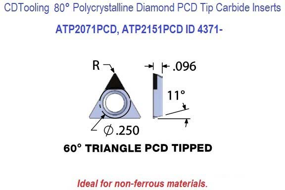 ATP2071PCD, ATP2151PCD, Triangle Diamond Shaped Polycrystalline Diamond PCD Tipped Carbide Insert for Boring Bars 1 Pack ID 4371