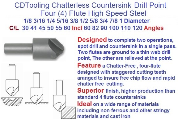 Drill Point Countersink 1/8 to 1 Inch Dia. 30 41 45 50 55 60 Degree C/L Angle, 60 82 90 100 110 120 Included Angle HSS ID 2004-